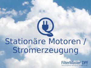 Reinigung von Partikelfiltern stationärer Motoren / Stromerzeugung